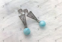 No.9 Larimar earrings round cabochon 6mm,8mm