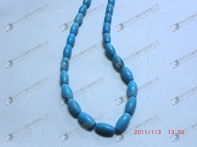 Blue tuquoise barrel shaped beads for jewelry
