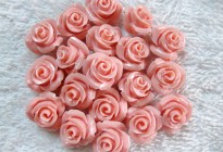 10mm pink coral rose flower carved beads