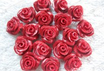 12mm synthetic red coral flower carved beads