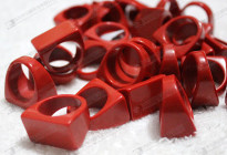Wholesale synthetic red coral solid rings 人造紅珊瑚戒指