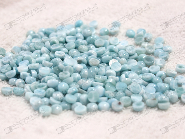 Natural larimar round cabochons,blue color loose gemstone beads 拉力瑪
